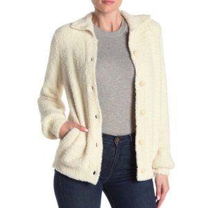 SUSINA Teddy Fleece Knit Cardigan Ivory S & XL